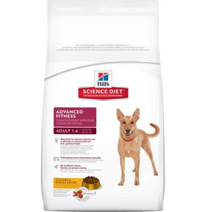 white bag with dog and 'canine advanced fitness' plus chicken and barley recipe