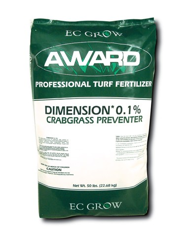 Photo of Award 'Professional Turf Fertilizer' Dimension Crabgrass Preventer. Bag is 50 lbs. and dark green with a white strip across the center to display text.