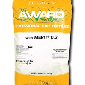 award merit grub control in yellow 50 lb bag with white stripe across center.