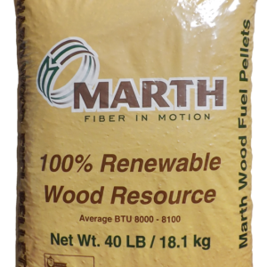 Brown bag of Marth Fiber in Motion, 100% Renewable Wood Resource. 40 lbs.