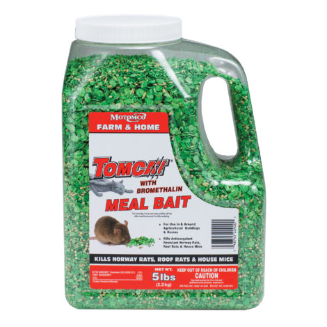 Farm & Home Tomcat with bromethalin meal bait, 5 lbs container.