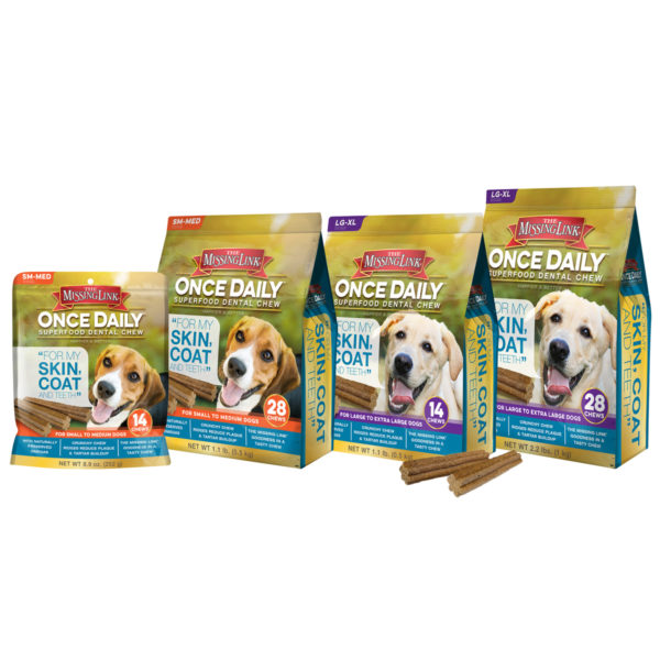 4 different bags of different types of missing link canine dental chews.