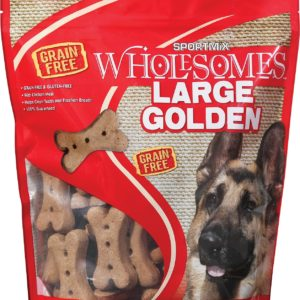 golden large dog biscuits, 4 lbs, in red bag with dog on front.