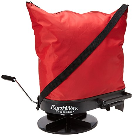 Earthway Bag Spreader 2750 is red bag with black bottom and crank.