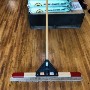 Push Broom- Fine, Course, gray bristles, red top, wood handle