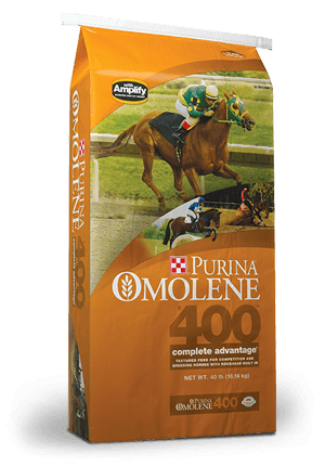 Purina Omolene 400 Complete Advantage. Bag is orange with racing horse on cover.