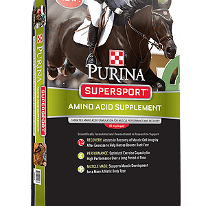 Purina SuperSport Supplement. Bag is black with green band across center and down sides. There is a photo of a racing horse and jockey on top.