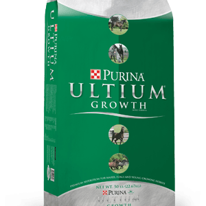 Purina Ultium Growth Horse. Green bag with silver top and bottom and photos of horses in 4 circles running vertically down the center.