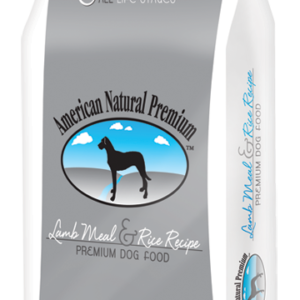 american natural premium lamb meal and rice recipe in gray and white bag.