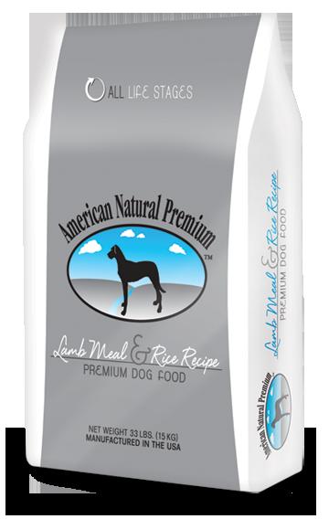 american natural premium lamb meal and rice recipe in gray and white bag.