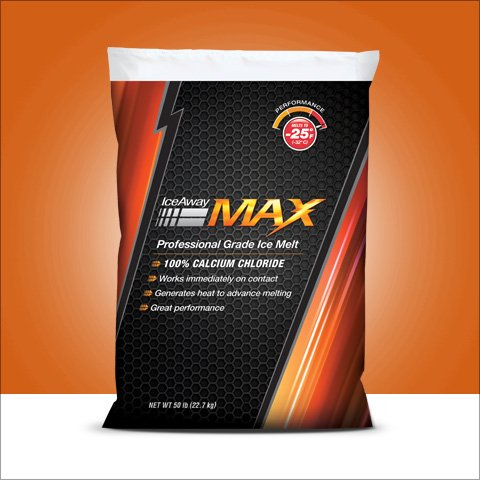 max melt calcium chloride in black bag with orange stripe. weight of 50 lbs.