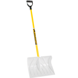 Snow Scoop-Dominator is white shovel with yellow pole and black handle.